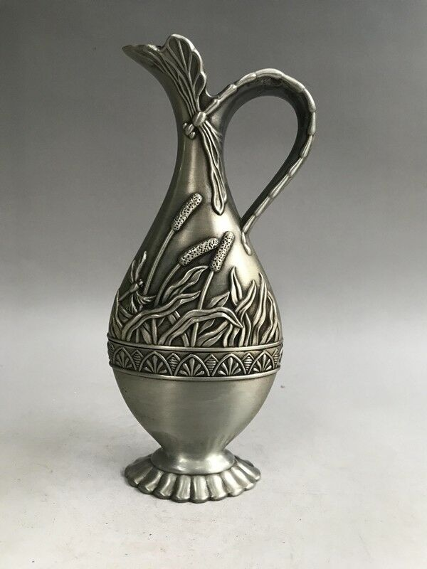 Chinese Miao Silver Old Man Play Chess Dog Animal Wine Tea Pot Flagon Kettle