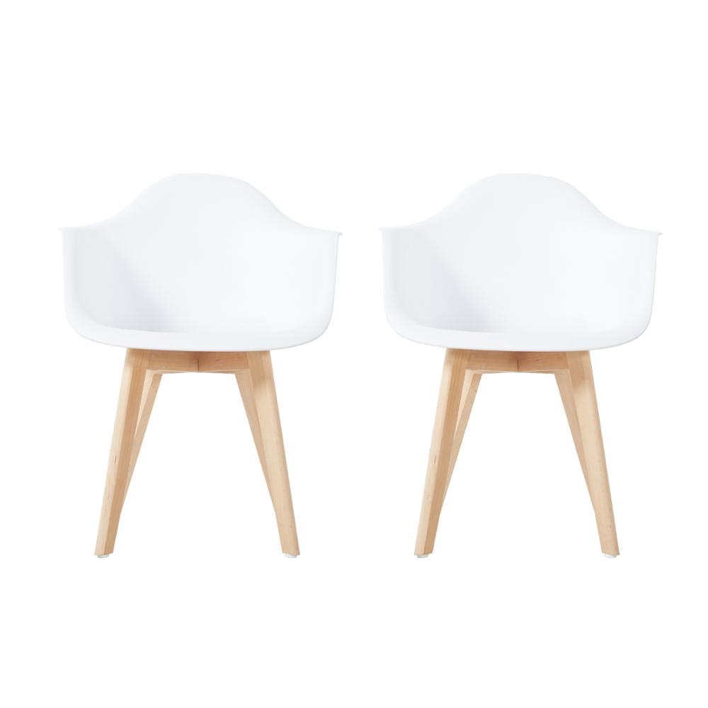 EGGREE Set Of 2pcs Iris Plastic Dining Armchair For Dining Room - White - 2-8days EU Warehouse