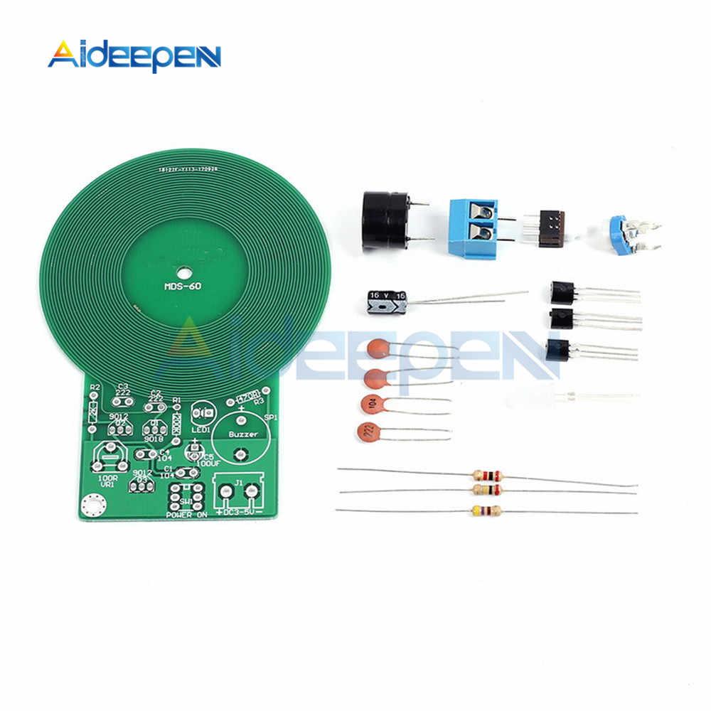 Détecteur de métaux Kit électronique DC 3 V-5 V 60mm capteur sans contact Module de panneau bricolage détecteur de métaux avec boîtier de batterie Kit de bricolage