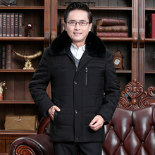 Father Winter Warm Parkas Fur Collar Detachable Thick Fleece Puffer Basic Coat Black Army Green Puff Quilted Jacket Outerwear 2017 children s army green coat raccoon fur collar hooded boys girls coat winter parkas detachable clothing purple jacket c 26