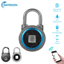 Bayroon Security Portable Smart Waterproof Keyless Lock APP Control Android IOS Phone Bluetooth Fingerprint Unlock Door PadLock