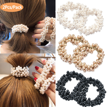 Pearl Hair Bands Women Girls Scrunchie Ponytail Holder Pearl Beads Women Hair Bands Elastic Rubber Rope Ties Hair Accessories bowknot floral hair scrunchies rope women ponytail holder bows elastic hair bands crunchy hair ties scrunchie hair accessories