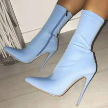 Women Mid-calf Boots Thin High Heels Pumps Stiletto Candy Shoes Woman Chaussure Pointed Toe Zapatos Mujer Sapato Booties WXZ088 women mid calf boots thin high heels warm stiletto shoes woman pointed toe booties wxz138