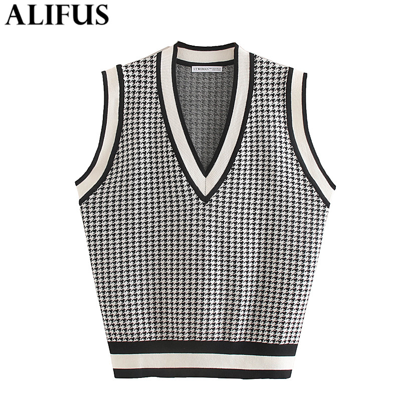 Fashion Za Women 2019 Casual Houndstooth Vests Sweater Elegant V Neck Sleeveless Stylish Pullovers Outerwear Female Ladies