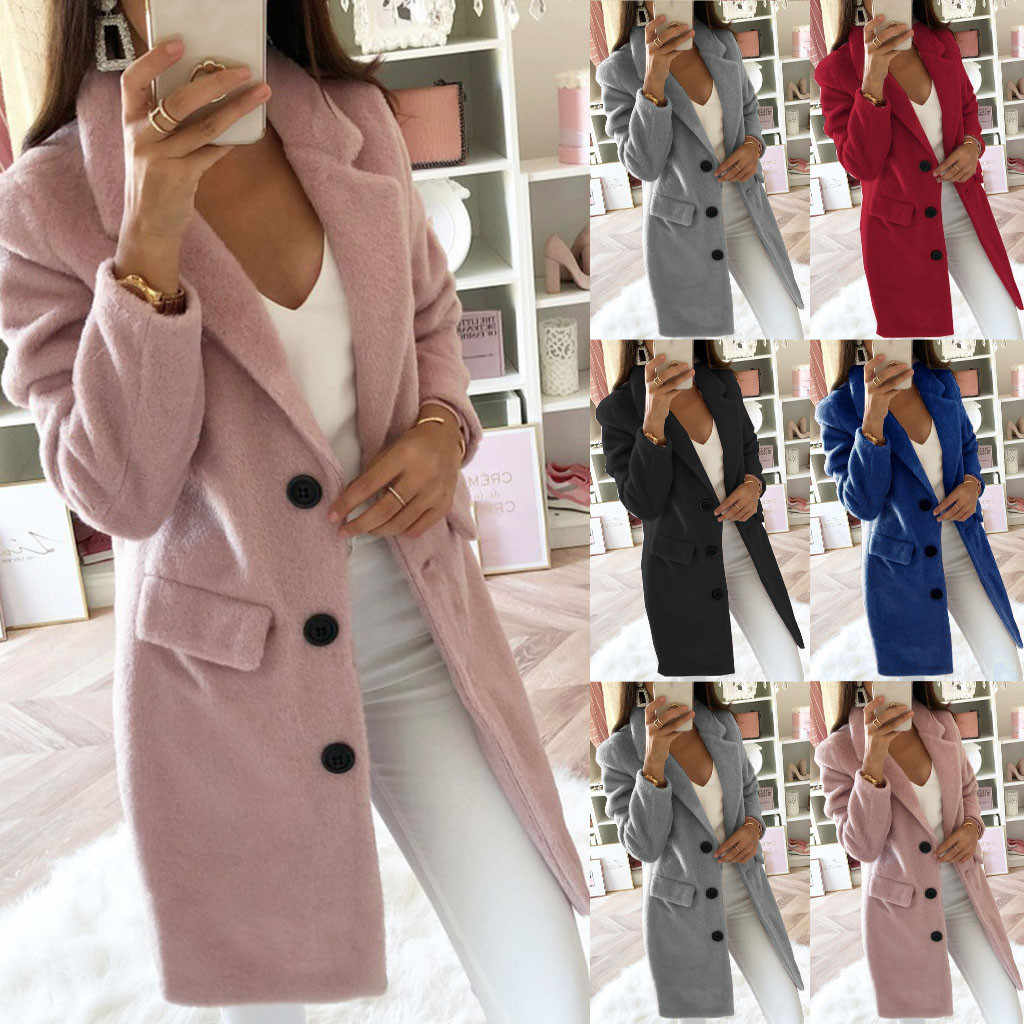 2019 Fashion Vrouwen Wol Mix Jas Lange Mouwen Turn-Down Kraag Warme Herfst Winter Knop Vrouwen Lange Wollen Jas big Size 5XL
