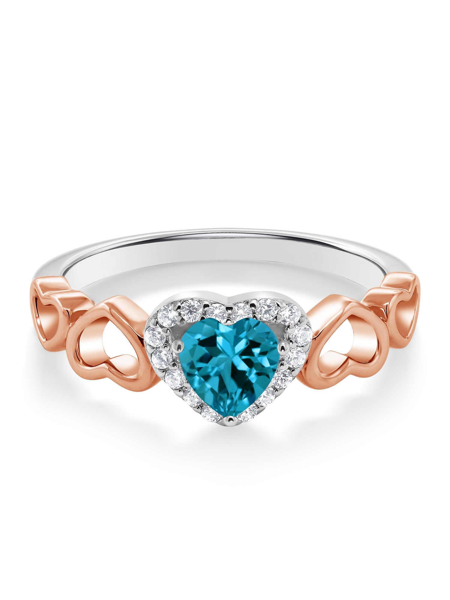 GemStoneKing 0.71 Ct شكل قلب الطبيعية لندن الأزرق توباز 925 فضة و 10K خاتم الذهب الوردي للنساء غرامة مجوهرات