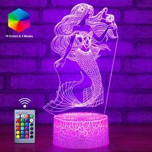 3D Mermaid LED Nachtlampje Afstandsbediening Nachtlampje Zee meid Slaapkamer Luminaria Sea maiden Kid Speelgoed Tafellamp Verjaardag kerstcadeau