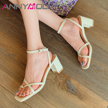 ANNYMOLI Women Flip Flop Sandals Real Leather High Heels Ankle Strap Thick Heel Shoes Buckle Square Toe Ladies Sandals Beige 39 annymoli sandals women platform wedge high heels shoes round toe buckle high heel footwear ladies summer sandals female beige