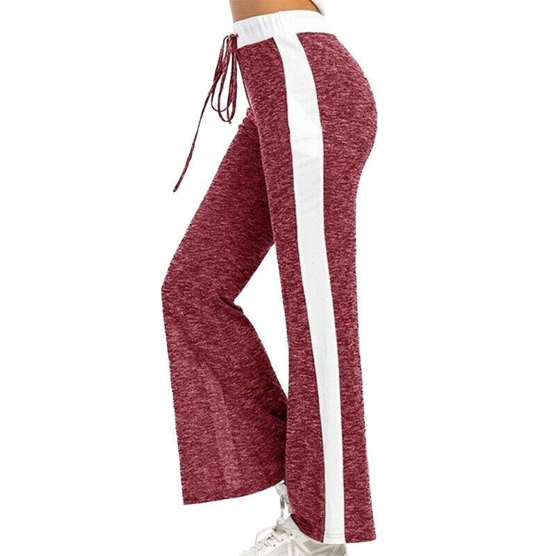 Summer Women's Trousers Pants Casual Loose White Striped Drawstring Women Pants & Capris