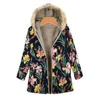Зимняя женская куртка, парка, пальто, женская ветровка, теплая верхняя одежда, цветочный принт, с капюшоном, ВИНТАЖНЫЕ пальто размера плюс, в...