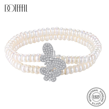 DOTEFFIL Genuine Natural Freshwater Pearl Bracelets Bangles For Women Two Bracelet Elasticity 925 Silver Butterfly Jewelry Gift doteffil genuine natural freshwater pearl bracelets fine jewelry bangles for women 6 7mm pearl oval 925 silver pearl clasps gift