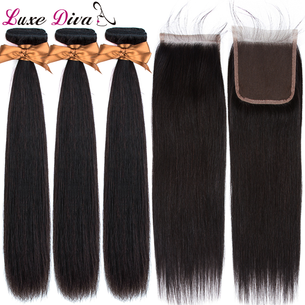 Luxediva Hair Extensions Malaysian Straight Hair With Closure Remy Human Hair Bundles With Lace Closure 3 Bundles With Closure