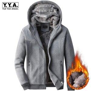 Мужское приталенное пальто с капюшоном, Повседневная зимняя теплая уличная одежда с меховой подкладкой, хлопковая толстовка с длинными рук...