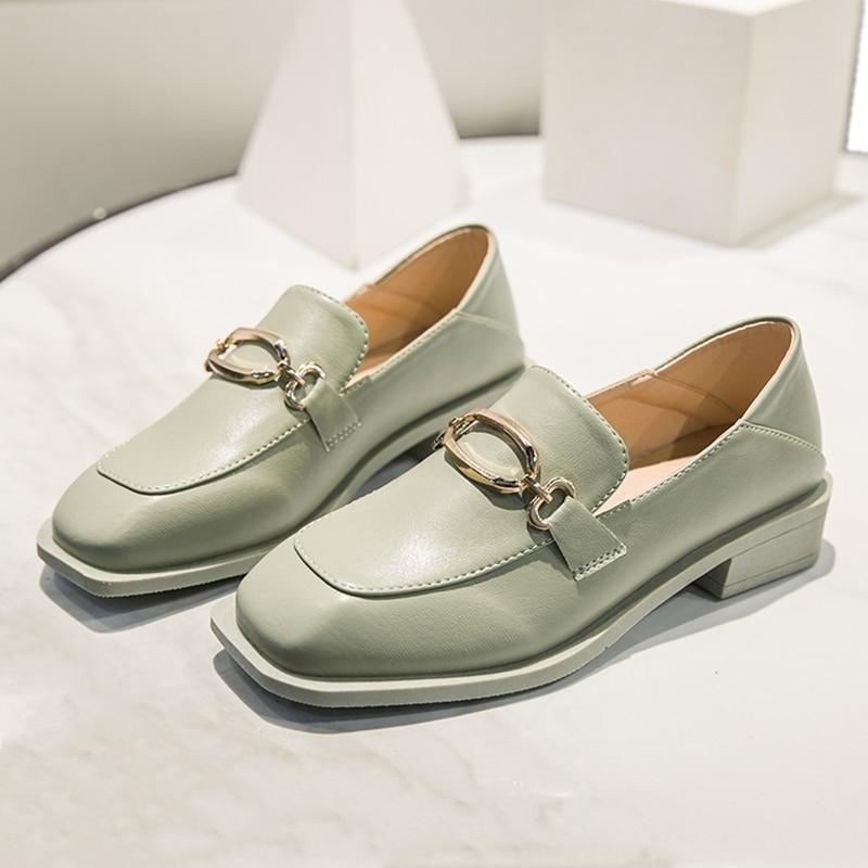 Elegant Light Green Loafers Women Low Heel Shoes Pumps PU Slip-on Metal Buckle Office Wedding Ladies Shoes sapatos feminino