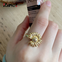 Kinel Flowers Ring Korean Style Real 925 Sterling Silver Ring Fine Jewelry Fashion Wedding Party 925 Silver Bague Bijoux kinel bague real pure 925 sterling silver vintage layered rings for woman jewelry wedding finger open ring bijoux femme
