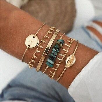 6 PCS/Set Gold Link Chain Bracelets for Women Green Natural Stone Set Womens Sea Shell Charm Boho