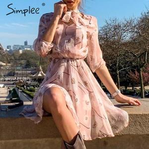 Image 1 - Женское винтажное платье с цветочным принтом Simplee, элегантное офисное платье с высокой талией и рукавом до локтя, шикарные вечерние платья для весны и лета
