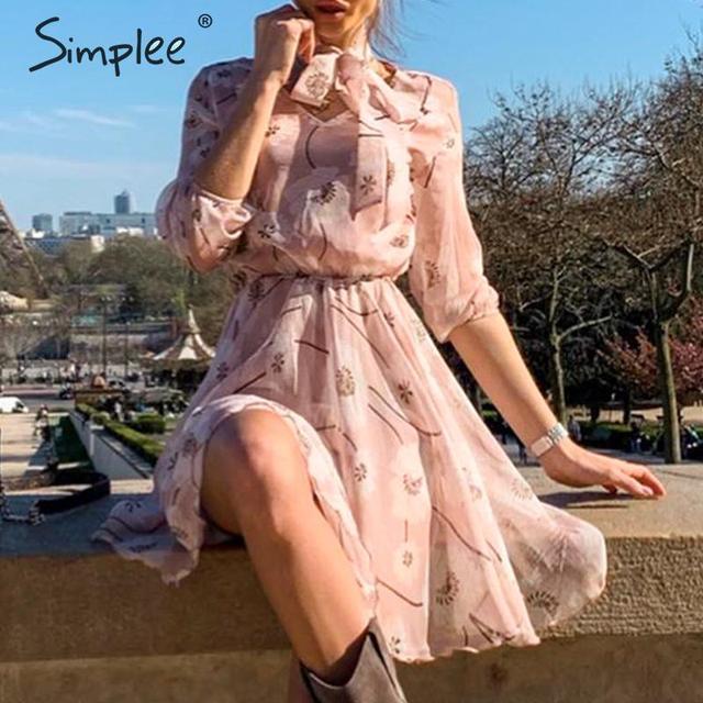 Женское винтажное платье с цветочным принтом Simplee, элегантное офисное платье с высокой талией и рукавом до локтя, шикарные вечерние платья для весны и лета