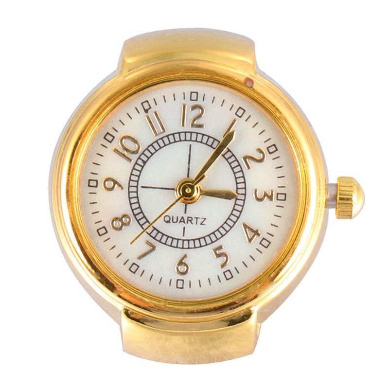 1 шт. Стильные наручные часы, модные мини-кольца, кварцевые часы, ювелирные изделия для женщин и мужчин (Золотой)