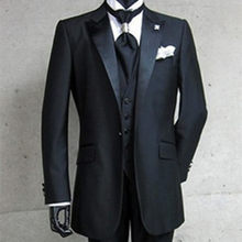 Real Photo One Button Black Bruidegom Tuxedos Peak Satin Revers Beste man Groomsman Mannen Wedding Suits Bruidegom (Jasje + broek + Vest)(China)