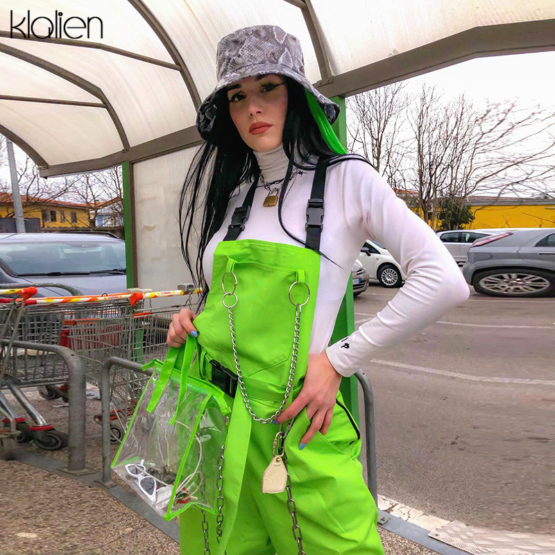 KLALIEN Shoulders Bag Buckles Belt Pocket Zipper Center With Chain Streetwear Overalls 2019 Hot Sale Fluorescent Green Pants