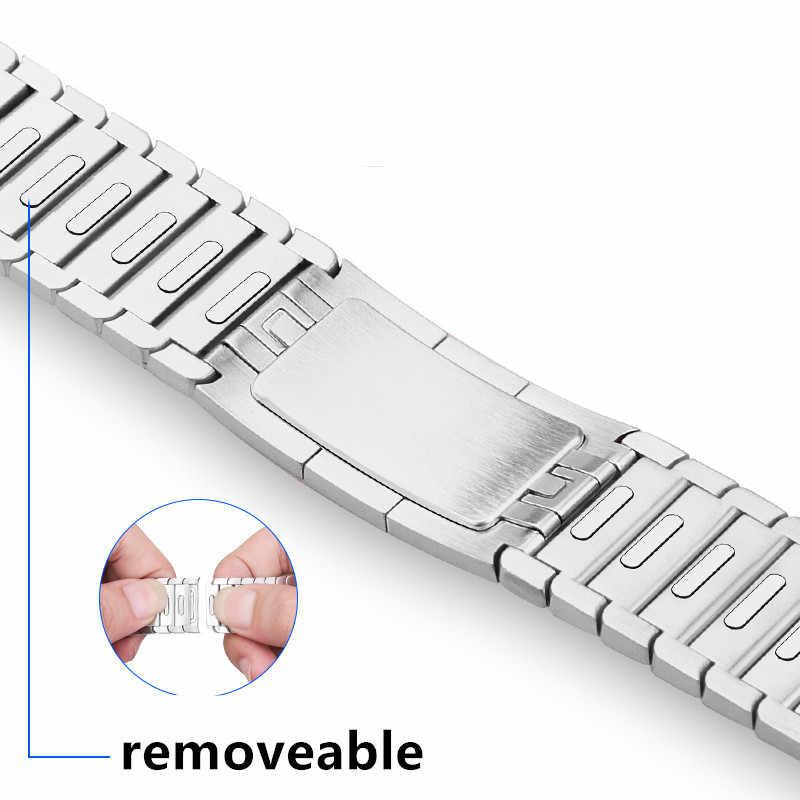 حزام ل سوار ساعة يد آبل 42 مللي متر 38 مللي متر iwatch 4 الفرقة 44 مللي متر 40 مللي متر الفولاذ المقاوم للصدأ وصلة سوار 316L مربط الساعة gen.6 Apple Watch 5 4