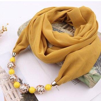 Women Simple Pendant Necklace Scarf Chiffon Cotton Scarves Multi-style Decorative Foulard Femme Head Hijab