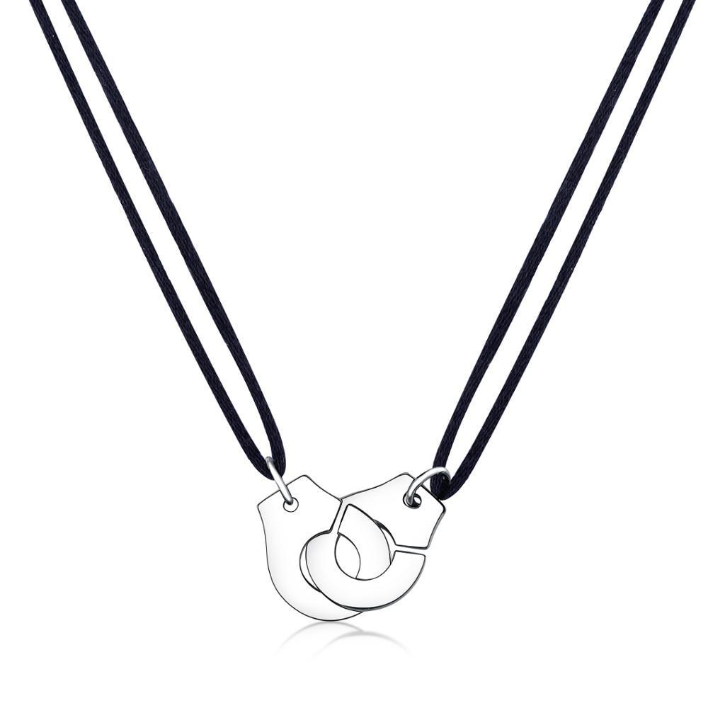 Высокое качество нержавеющая сталь наручники Les Menottes кулон ожерелье с регулируемой веревкой для мужчин женщин Франция Bijoux Collier