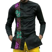 African print men dashiki shirts custom made clothes patchwork shirt long sleeve stand collar tops