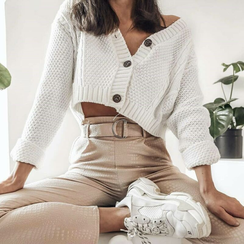2019 New Women's Autumn Knitted Cardigan Long Sleeve Sweater Female Sexy V Neck Loose Casual Outwear Coat Tops