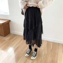 Autumn Winter Large Size Tulle Skirts Womens Black Dot Skirt Elastic High Waist Chiffon Fishtail Half-length XL-4XL