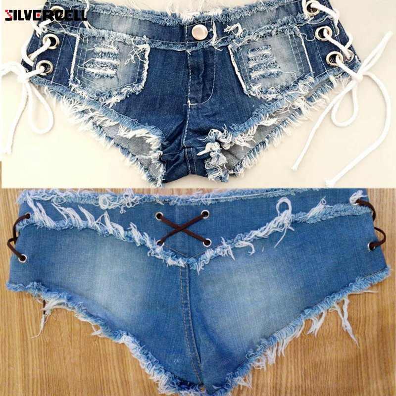 """Kobiety Sexy dżinsy Denim spodenki letnie bawełniane lace-up Sexy Super Hole, proszę kliknąć na przycisk """" krótkie spodnie Skinny Super krótkie dżinsy"""