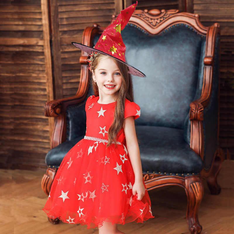 Платья принцессы на Хэллоуин для девочек, праздничная одежда для девочек, детская одежда на день рождения, 5 цветов, платье со звездами для девочек 2-14 лет