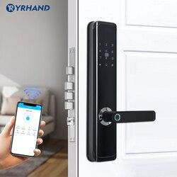 Tuya app vida inteligente eletrônico inteligente à prova dbiometric água biométrico impressão digital fechadura da porta inteligente com wifi para casa em liga de zinco