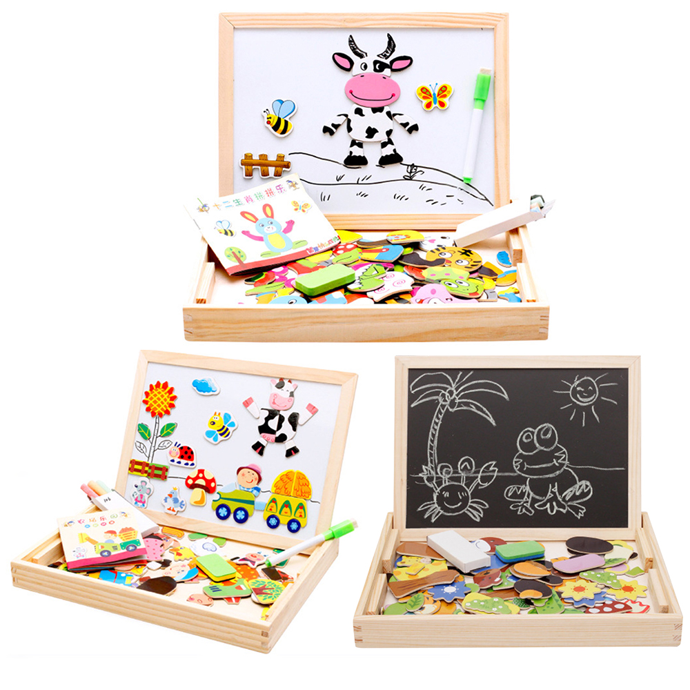Child Animal Wooden Puzzles Kids Tangram Educational Gift Multifunctional Magnetic Puzzle Painting Board Toys Baby 3D Puzzle Toy