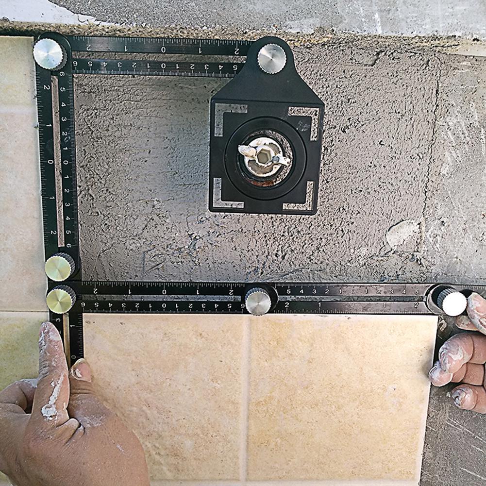 アルミ合金アングルファインダーマルチテンプレート6折りたたみ定規測定ツール木工角度定規とドリルガイドガラスタイル
