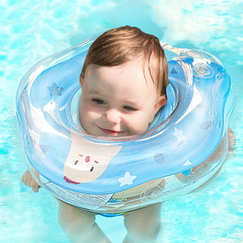 0-12m Newborn Baby Swimming Accessorie Neck Ring Tube Safety Infant Float Circle For Bathing Inflatable Cartoon Inflatable Water
