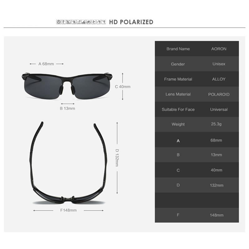 AORON Driving Polaroid Sun Glasses Aluminum Frame Sports Sunglasses Men Polarized Driver Retro UV400 Anti-glare Goggles 5
