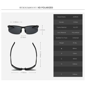 Image 4 - AORON sürüş polarize güneş gözlüğü alüminyum çerçeve spor güneş gözlüğü erkek sürücü Retro gözlük gözlük UV400 parlama önleyici