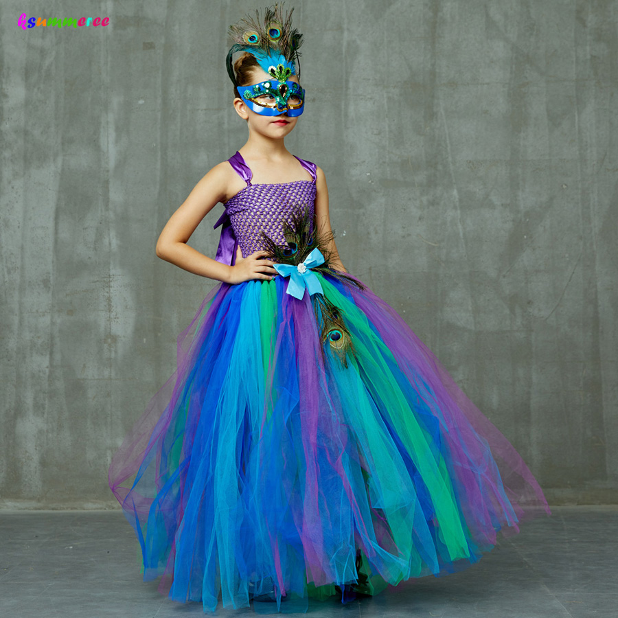 Flower Princess Peacock Costume for Girls Wedding Birthday Party Tutu Dress Kids Pageant Ball Gown Feathers Girl Tulle Dresses 1
