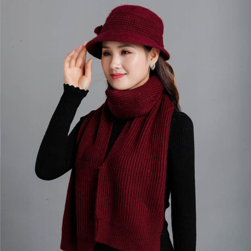High Quality Rabbit Wool Scarf Hat Fashion Warm Old Women's Cap Knitted Scarf Winter Hat Gift For Mother & Scarves 2pcs