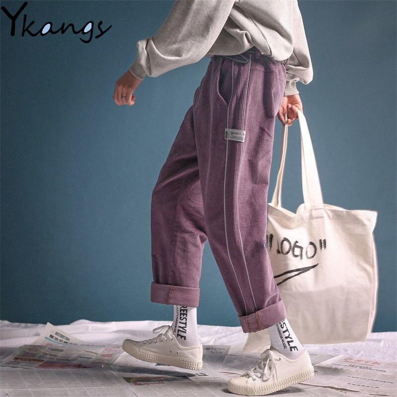 Винтажные фиолетовые однотонные вельветовые свободные прямые широкие брюки, женские шаровары для бега, повседневные брюки карго в Корейском стиле, уличная одежда Брюки       АлиЭкспресс