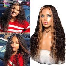 Wig Curly Human-Hair Lace-Front Black-Women Ombre Brazilian 27-Color 13x4 with