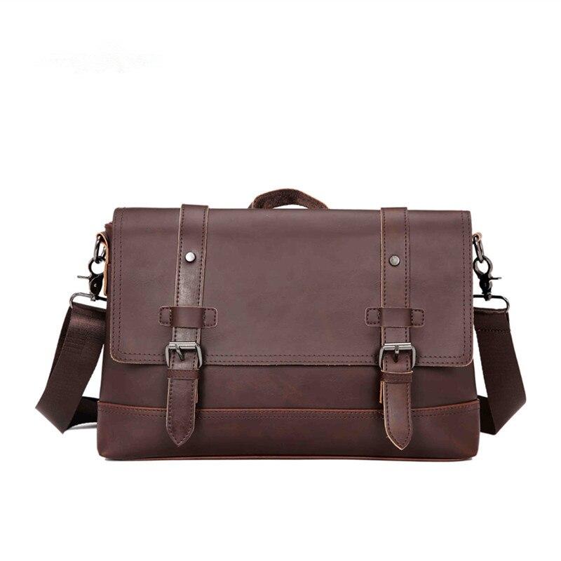Vintage Men Briefcase Brand PU Leather Handbag Male Casual Rivet Shoulder Bag Business Office Laptop Bag Retro Man Messenger Bag