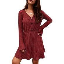 Women Ruffle Pleated Short Dress Long Sleeve V Neck Dresses Elegant Loose Mini