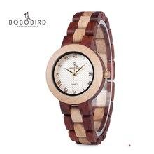 BOBO VOGEL Holz Uhr Frauen Relogio Feminino Luxus Armband mit Feine Holz Band Quarz Armbanduhren V M19