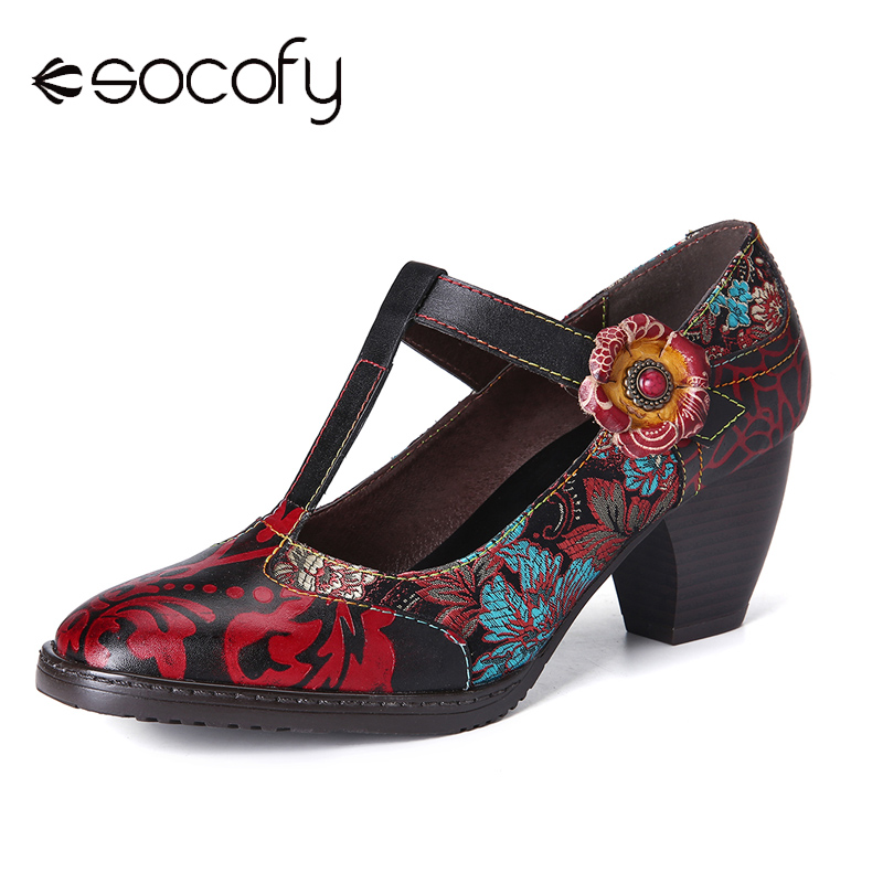 SOCOFY Retro Pumps Stitching Embroidery Flower Genuine Leather Zipper Low Heel Pumps Shoes Women Shoes Botas Mujer 2020