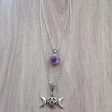 Púrpura piedra cadena collar con Pentáculo Triple Luna colgante de piedra Natural Wicca bruja pagana esotérico gótico 2021 regalo de las mujeres