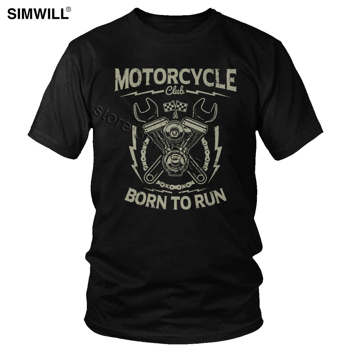 Trendy Retro T-Shirt Men Cotton Custom Motorcycle Repair Service T Shirt Short Sleeve Born To Run Tee Rider Club Graphic Apparel