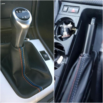 PU Leather Gear Stick/Handbrake Boot For BMW 3 Series E36 E46 M3 Black Gaiter Auto Boot Parts image
